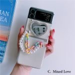 88087-Handmade-Korean-Love-Heart-Mirror-with-Colorful-Flowers-Chain-Blue-Silver-Green-Gold-Bear-3D-Clear-Transparent-Phone-Case-for-Samsung-Galaxy-Z-Flip-3-5G-2-2